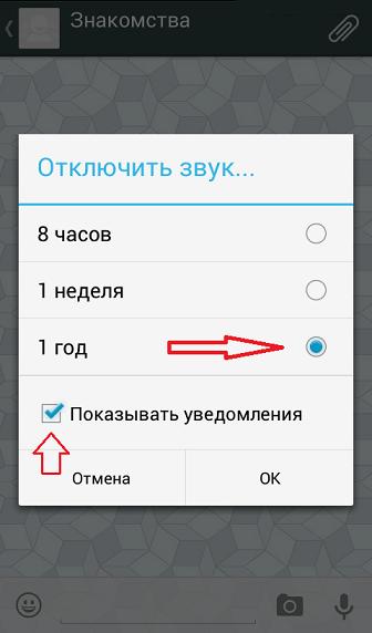 Отключение уведомлений в группах WhatsApp